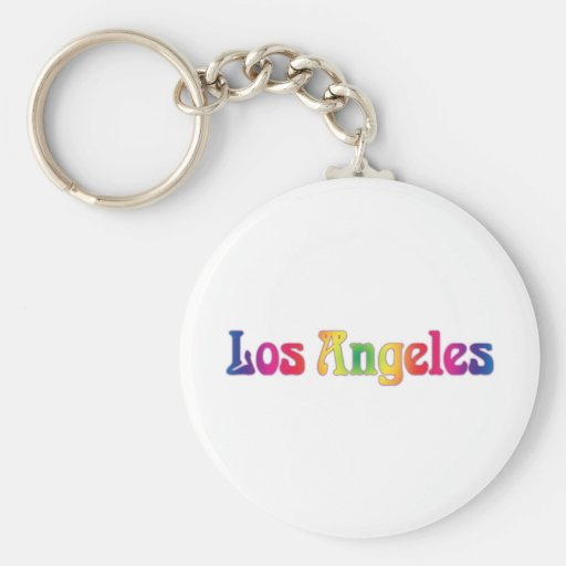 Los Angeles Retro Rainbow Logo Keychain