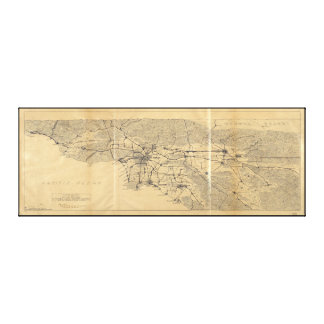 Los Angeles & San Gabriel Mountains Map (1915) Canvas Print