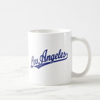 Los Angeles script logo in blue Basic White Mug