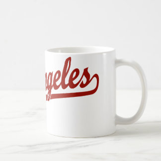 Los Angeles script logo in red Basic White Mug