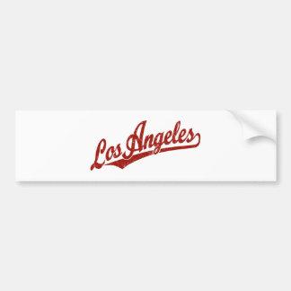 Los Angeles script logo in red distressed Bumper Sticker