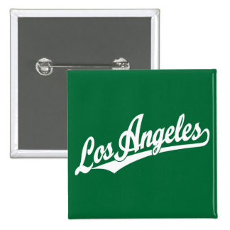 Los Angeles script logo in white 15 Cm Square Badge