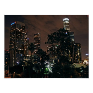 Los Angeles Skyline By Night Poster