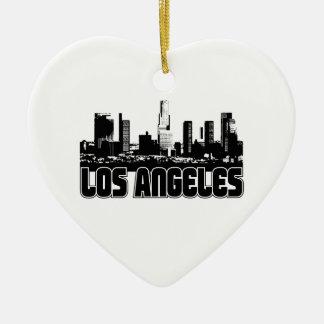 Los Angeles Skyline Ceramic Heart Decoration