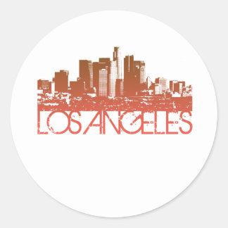 Los Angeles Skyline Design Round Sticker