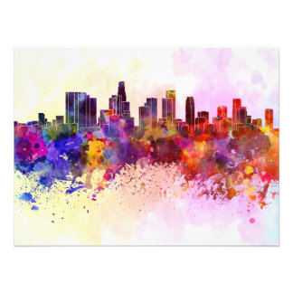 Los Angeles skyline in watercolor background Photo Art