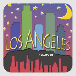 Los Angeles Skyline nighlife Square Sticker