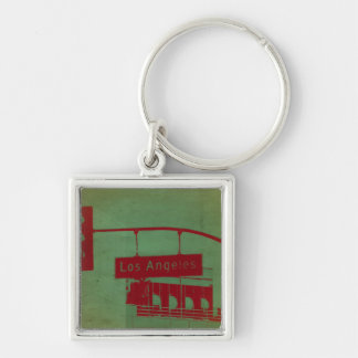 Los Angeles Street Silver-Colored Square Key Ring