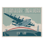 Los Angeles to New York by Air Posters