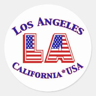 Los Angeles USA Patriotic Logo Round Sticker