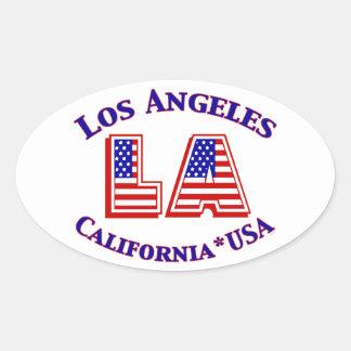 Los Angeles USA Patriotic Oval Logo Oval Sticker