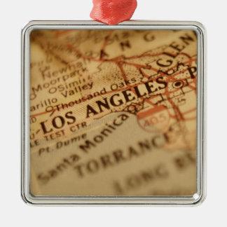 LOS ANGELES Vintage Map Christmas Ornament