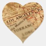 LOS ANGELES Vintage Map Heart Sticker