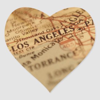 LOS ANGELES Vintage Map Heart Sticker