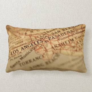 Los Angeles Vintage Map Lumbar Pillow