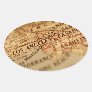 LOS ANGELES Vintage Map Oval Sticker