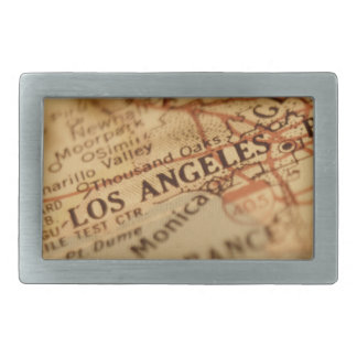 LOS ANGELES Vintage Map Rectangular Belt Buckles