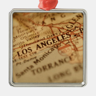 LOS ANGELES Vintage Map Silver-Colored Square Decoration