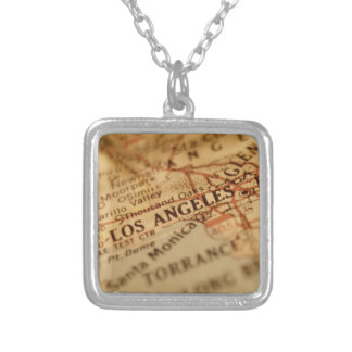 LOS ANGELES Vintage Map Silver Plated Necklace