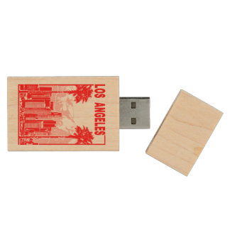 Los Angeles Wood USB Flash Drive