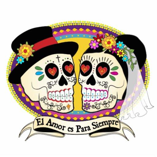 Los Novios Sugar Skull Cake Topper Spanish Zazzle