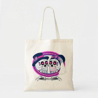 Los Novios Tote Bag-Navy and Hot Pink Budget Tote Bag