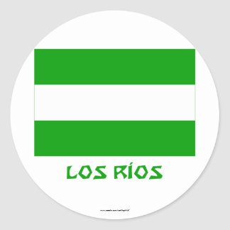 Los Ríos flag with Name Round Sticker
