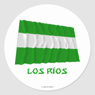 Los Ríos waving flag with Name Round Sticker