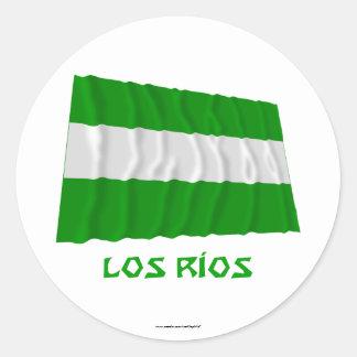 Los Ríos waving flag with Name Round Sticker