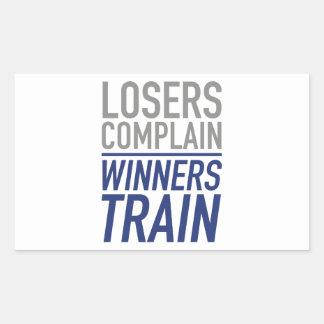 Losers Complain Winners Train Rectangle Sticker