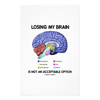 Losing My Brain Is Not An Acceptable Option Stationery Design