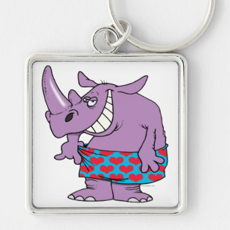 losing weight funny rhino in boxers keychains