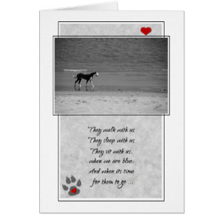 Loss of a Dog Pet Sympathy Beach Theme Greeting Card