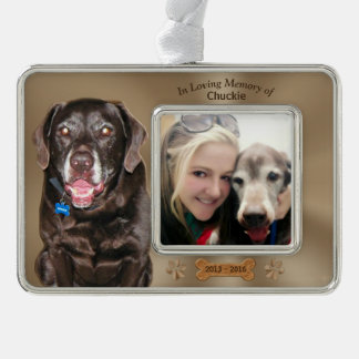 Loss of a Dog Sympathy Gifts 2 Photos 3 Text Boxes Silver Plated Framed Ornament
