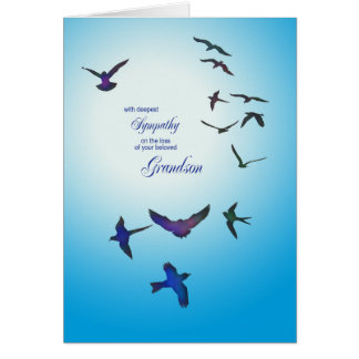 Loss of grandson, sympathy card, flying birds greeting card