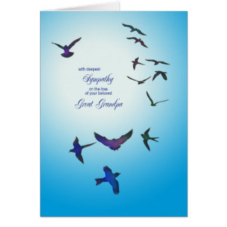 Loss of Great Grandpa, sympathy card, flying birds Greeting Card