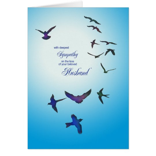 Loss of husband, sympathy card, flying birds card