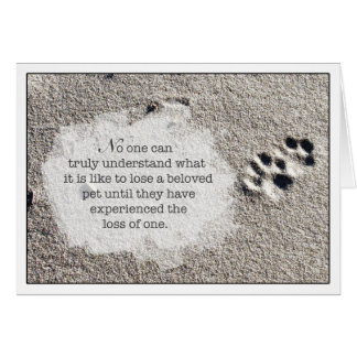 Loss of Pet Cat Sympathy Card Paw Prints in Sand