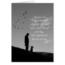 Loss of Pet Dog Sympathy Card Man and Dog