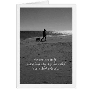 Loss of Pet Dog Sympathy Card Man and Dog on Beach