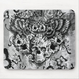 Lost and found, floral owl with sugar skull mouse mat