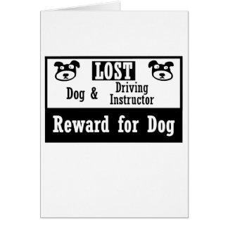 Lost Dog Driving Instructor Note Card