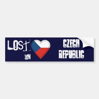 Lost in Czech Republic Flag Heart Bumper Sticker