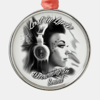 Lost in lyric trippy girl with headphones art christmas ornament