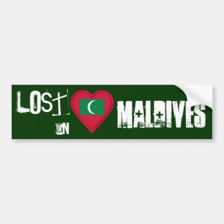 Lost in Maldives Flag Heart Bumper Sticker