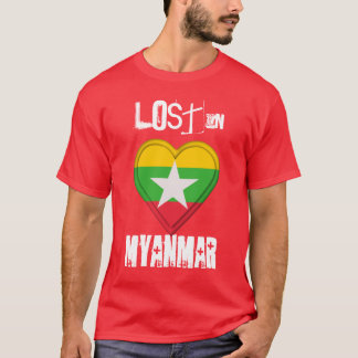 Lost in Myanmar Flag Heart T-Shirt