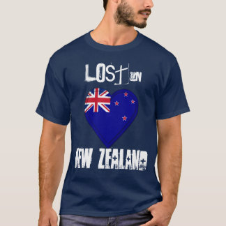 Lost in New Zealand flag Heart T-Shirt