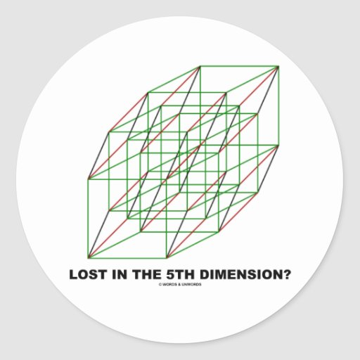 Lost In The Fifth Dimension? (Geometry Attitude) Round Sticker
