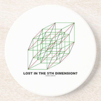 Lost In The Fifth Dimension? (Geometry Cube Humor) Coasters