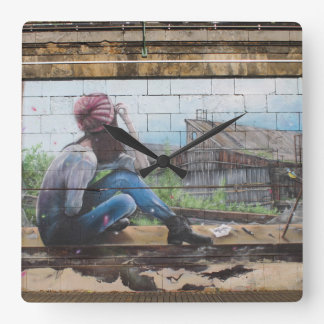 Lost In Thoughts About Childhood Graffiti Square Wall Clock
